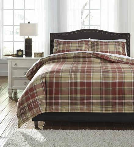 Danail Red and Gold and Green Queen Duvet Cover Set