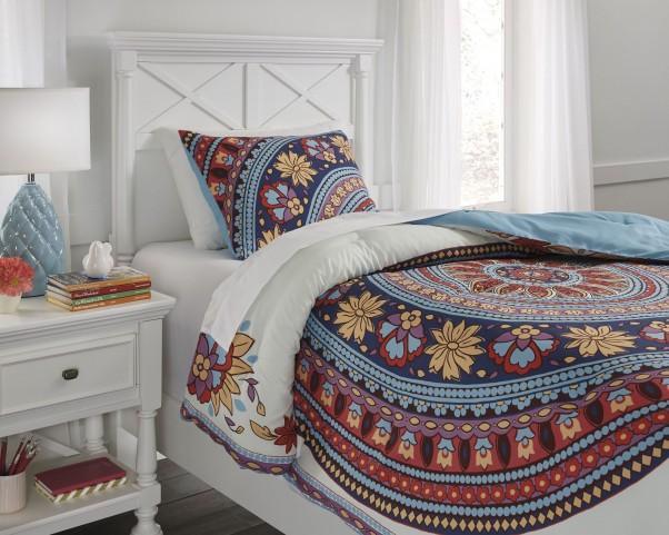 Amerigo Aqua and Orange Twin Comforter Set