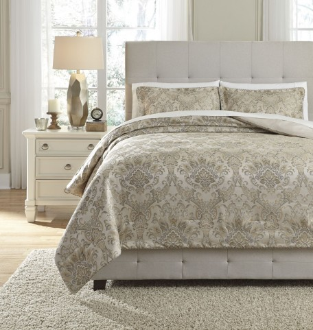 Amil Ivory and Gold Queen Comforter Set