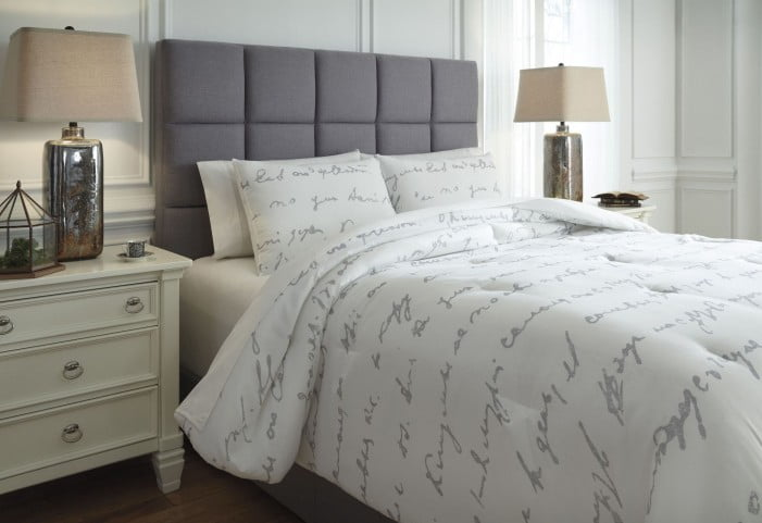 0424a5484b1b Adrianna White and Gray Queen Comforter Set from Ashley | Coleman Furniture