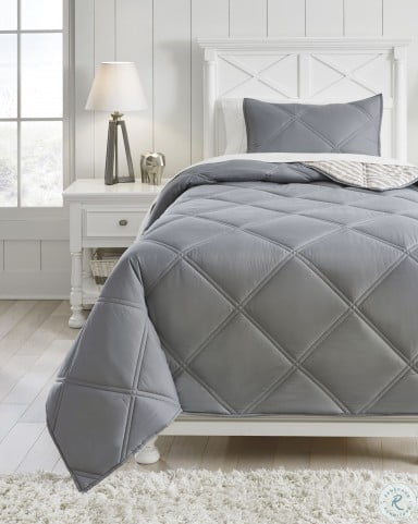 Rhey Tan and Gray 2 Piece Twin Comforter Set