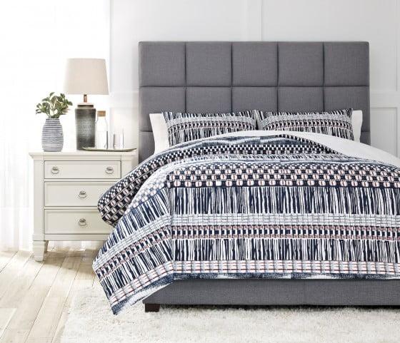 Shilliam Navy and Rust 3 Piece Queen Comforter Set