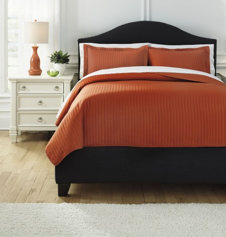 Raleda Orange Queen Comforter Set