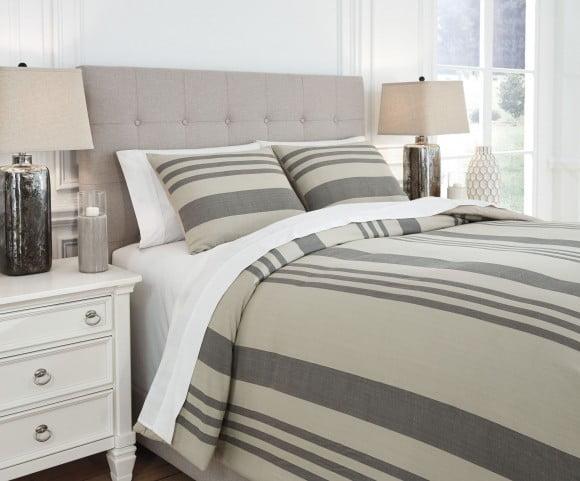 Schukei Natural And Charcoal Queen Comforter Set