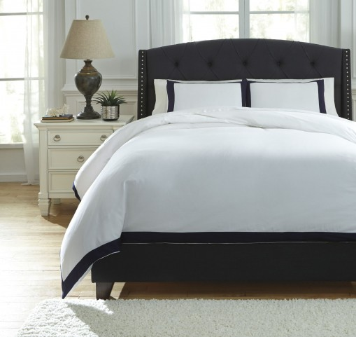 Ransik Pike White and Navy Queen Duvet Cover Set