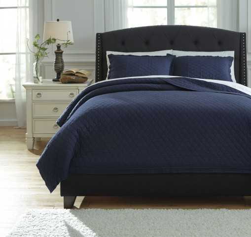 Alecio Navy Queen Quilt Set