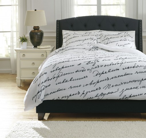 Amantipoint White and Gray Queen Duvet Cover Set