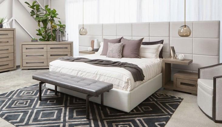 True Modern Grid White Tufted Upholstered Platform Bedroom Set