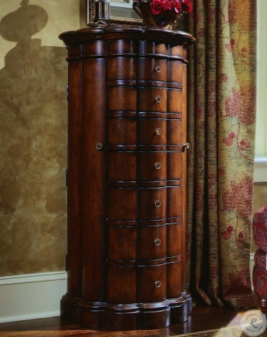 Cherry 7 Drawer Shaped Jewelry Armoire