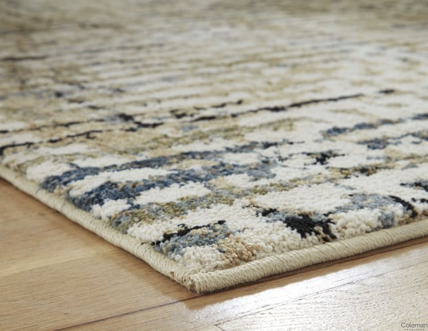Mahina Tan and Blue and Cream Large Rug