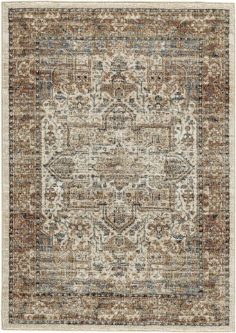 Jirair Tan and Blue and Rust Large Rug