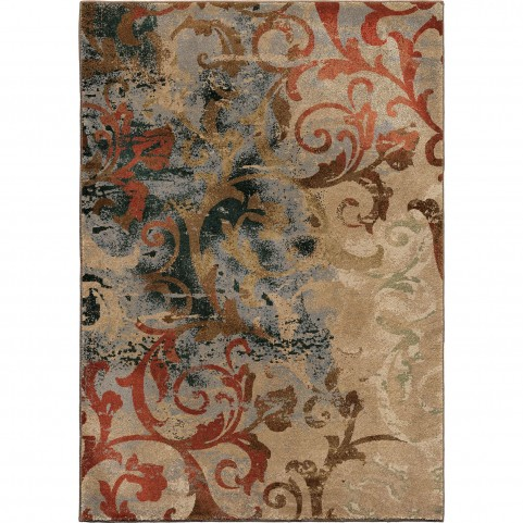 Distress Scroll Multi Large Rug