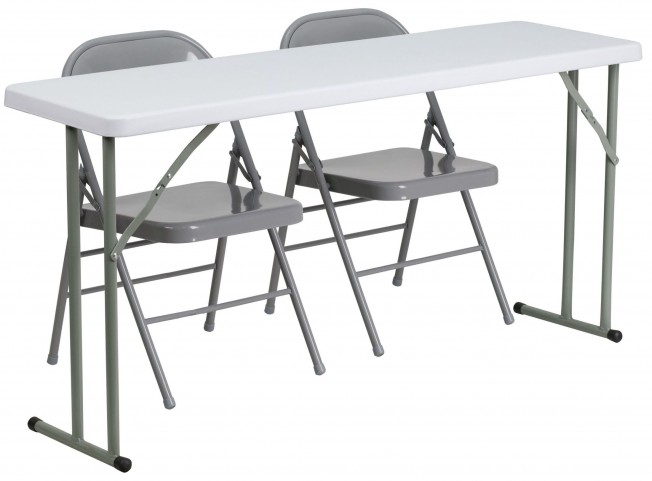 """18"""" Plastic Folding Training Table with 2 Gray Metal Folding Chairs"""