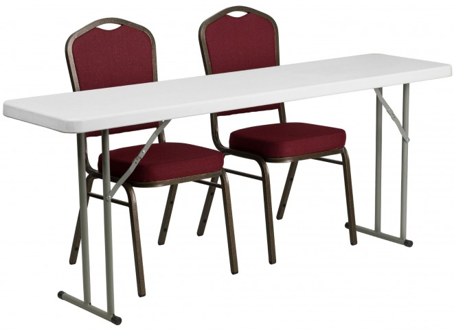 """18"""" Plastic Folding Training Table with 2 Crown Back Stack Chairs"""