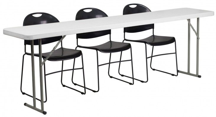 Plastic Folding Training Table with 3 Black Plastic Stack Chairs