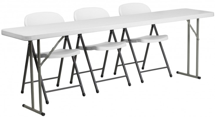 Plastic Folding Training Table with 3 White Plastic Folding Chairs
