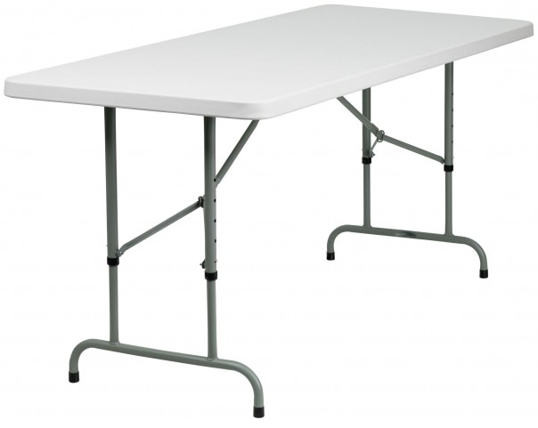 "30"" Height Adjustable Granite White Plastic Folding Table"