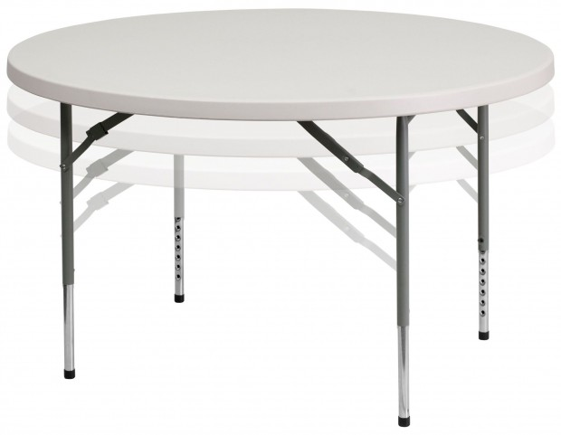 "48"" Round Height Adjustable Granite White Plastic Folding Table"