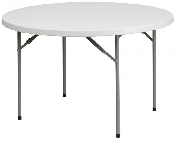 "RB-48R-GG 48"" Round Granite White Plastic Folding Table"