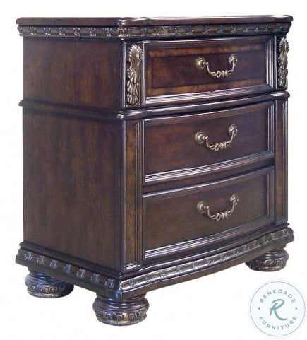 Monte Carlo Rich Cocoa 3 Drawer Nightstand With Usb Port