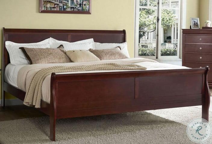 Orleans Cherry Sleigh Bedroom Set