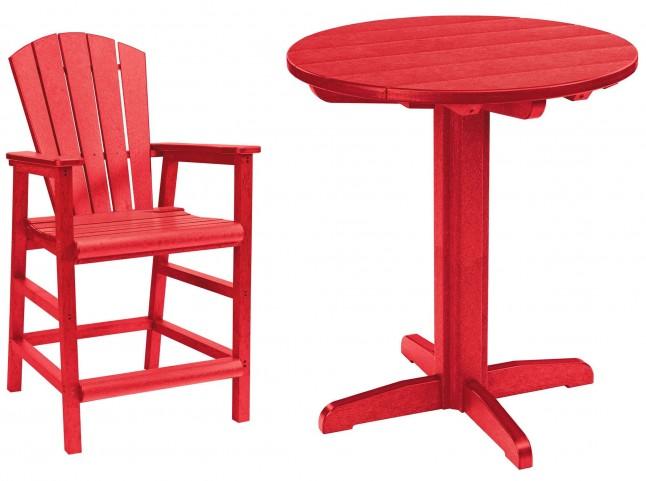 """Generations Red 32"""" Round Pedestal Pub Set"""
