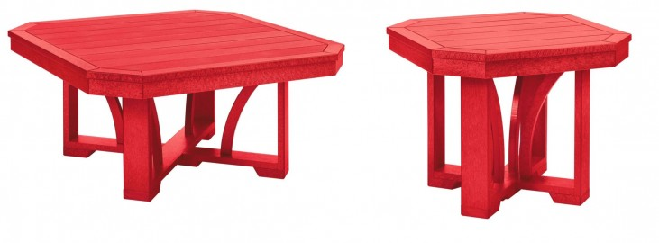 """St Tropez Red 35"""" Occasional Table Set"""