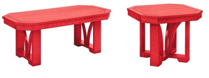 """St Tropez Red 42"""" Occasional Table Set"""