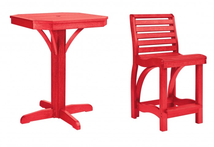 """St Tropez Red 28"""" Square Counter Pedestal Dining Room Set"""