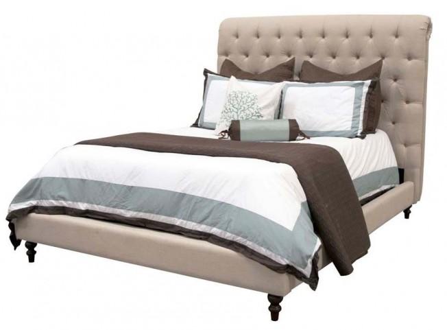 Remington Espresso Oatmeal Linen Queen Platform Bed