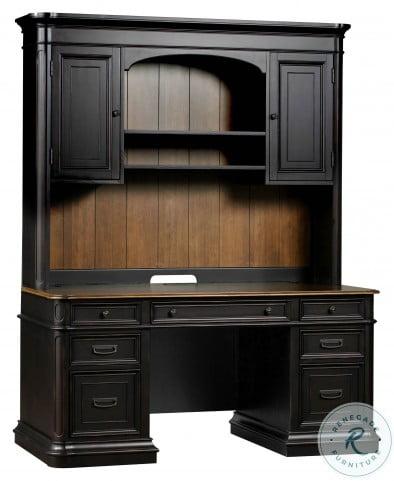 Roanoke Black Desk With Hutch
