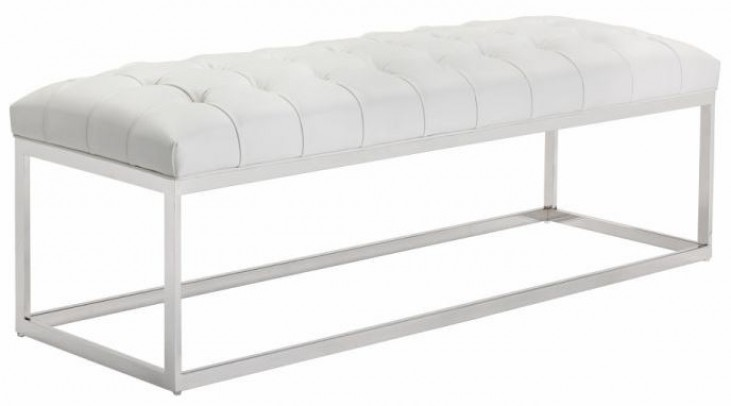 Sutton White Leather Bench