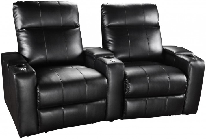 Plaza Black Bonded Leather Power Reclining Curved 2 Seats Home Theater Seating