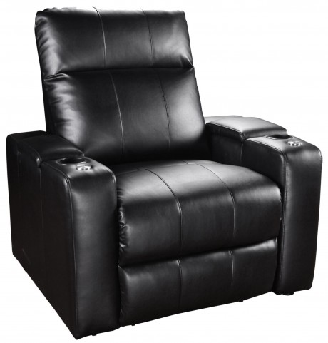 Plaza Black Bonded Leather 2 Arm Power Recliner