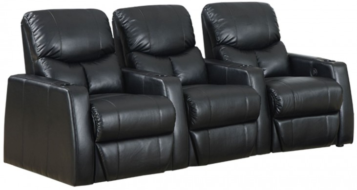 Applause Black Bonded Leather Reclining 3 Seats Home Theater Seating