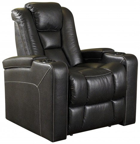 Evolution Black Leathaire Fabric 2 Arm Power Recliner