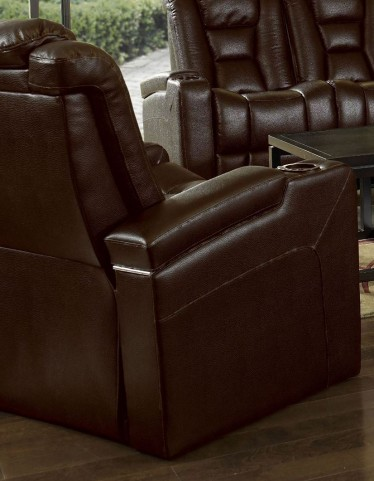 Evolution Jamestown Brown Fabric 2 Arm Power Recliner