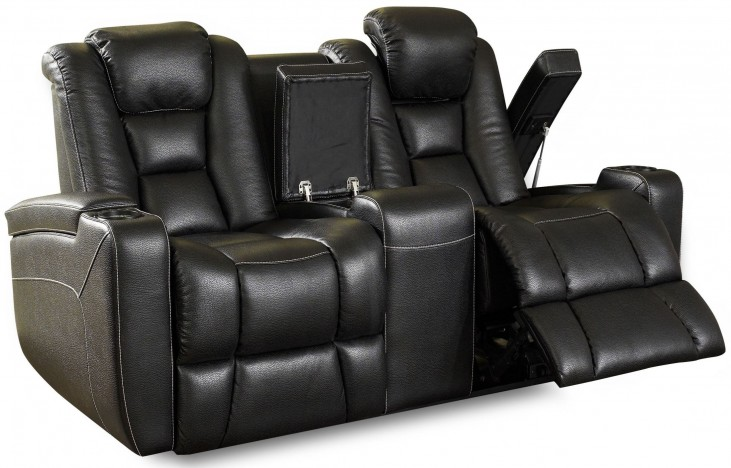 Evolution Black Leathaire Fabric Power Reclining Console Loveseat