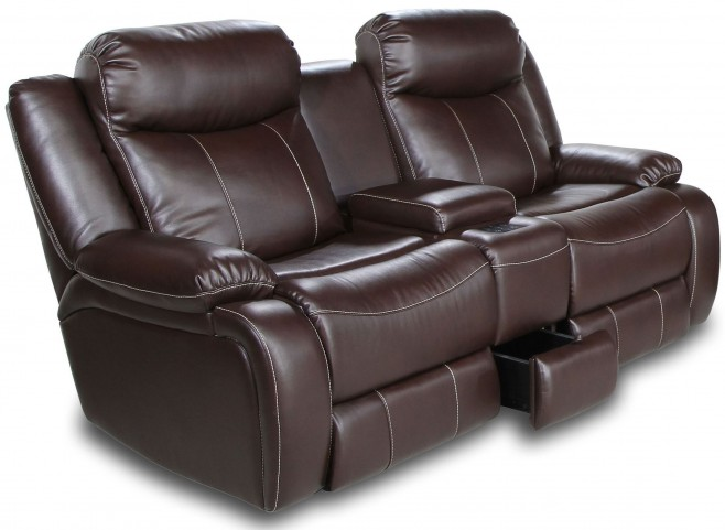Genesis Jamestown Brown Fabric Power Reclining Loveseat