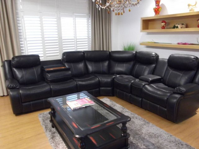 Genesis Black Leathaire Fabric Power Reclining Home Entertainment Sectional