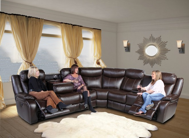 Genesis Jamestown Brown Fabric Power Reclining Home Entertainment Sectional