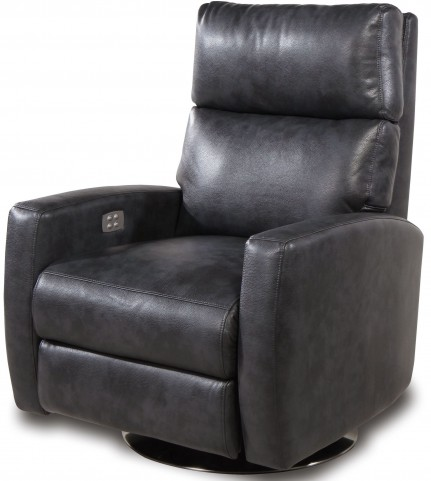 Galaxy Mottled Gray and Charcoal Leather Gel 2 Arm Swivel Power Recliner