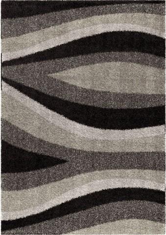 Majestic Shag Plush Waves Flume Black Small Area Rug