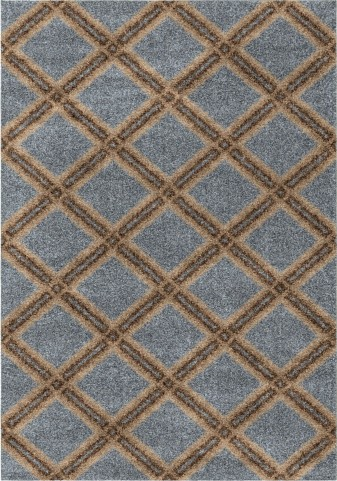Majestic Shag Plush Diamonds Concentric Blue Large Area Rug