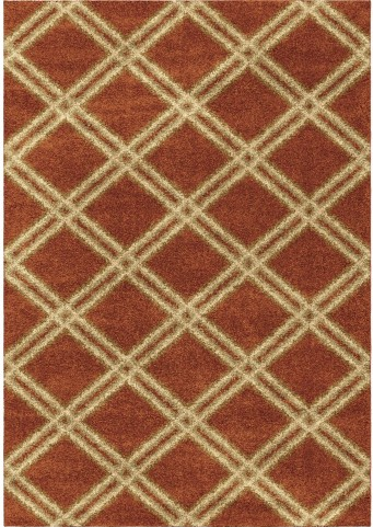 Majestic Shag Plush Diamonds Concentric Burnt Orange Small Area Rug