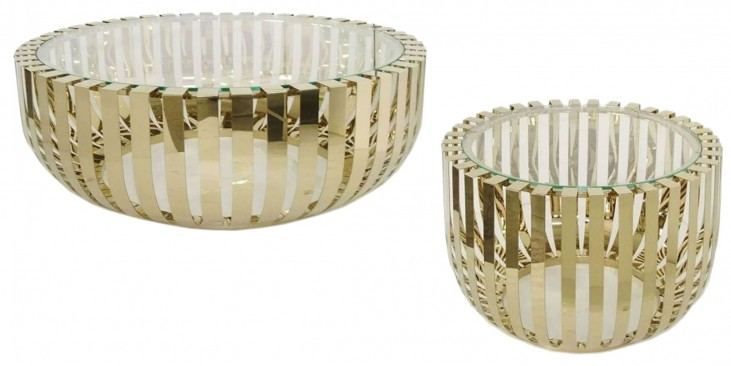 Roza Glass Top Champagne Occasional Table Set