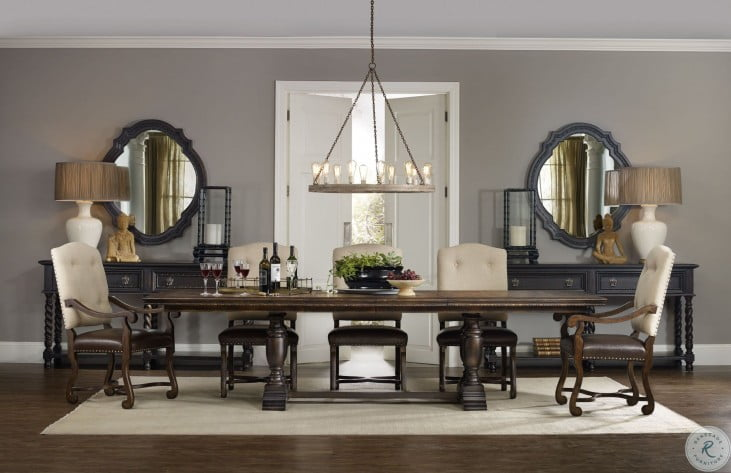 Treviso Gold Extendable Trestle Dining Room Set