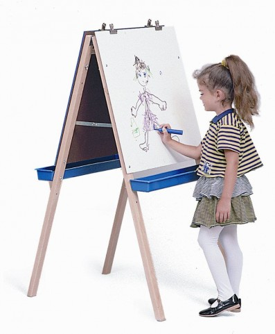 Adjustable Easel with Chalkboard, Write and Wipe Boards
