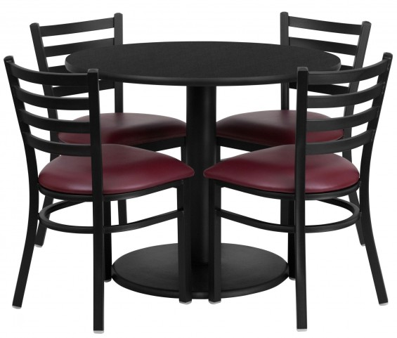 "36"" Round Black Table Set with 4 Ladder Back Metal Burgundy Vinyl Chairs"