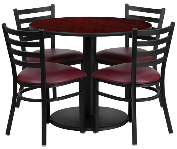 "36"" Round Mahogany 5 Piece Table Set with 4 Ladder Back Metal Burgundy Vinyl Chairs"